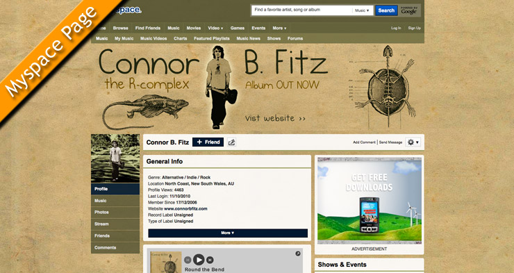 Connor B. Fitz Myspace Page